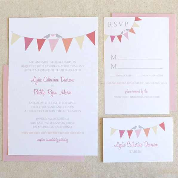 Wedding Chicks Free Printable sweet Bunting Wedding Invitation 16