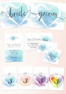 Wedding Chicks Free Printable water colour invitations