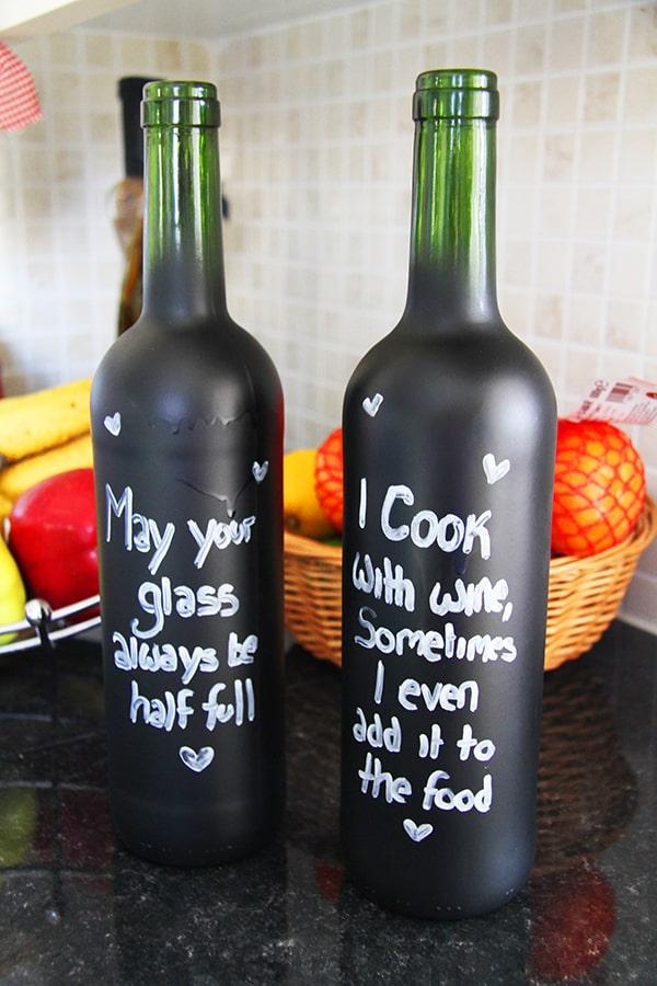 Chalk board wine bottles