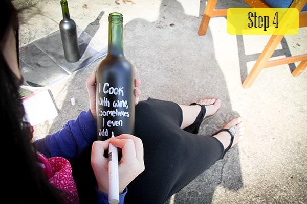 Step 4 Chalkboard wine bottles