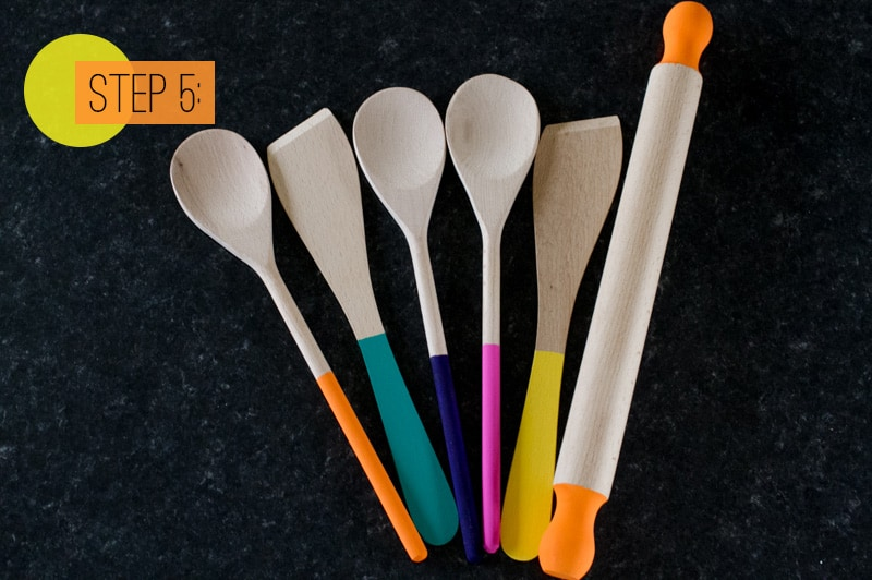 Paint Dipped Wooden Spoons Spatulas Rolling Pin Home DIY Colourful Kitchen Step 5