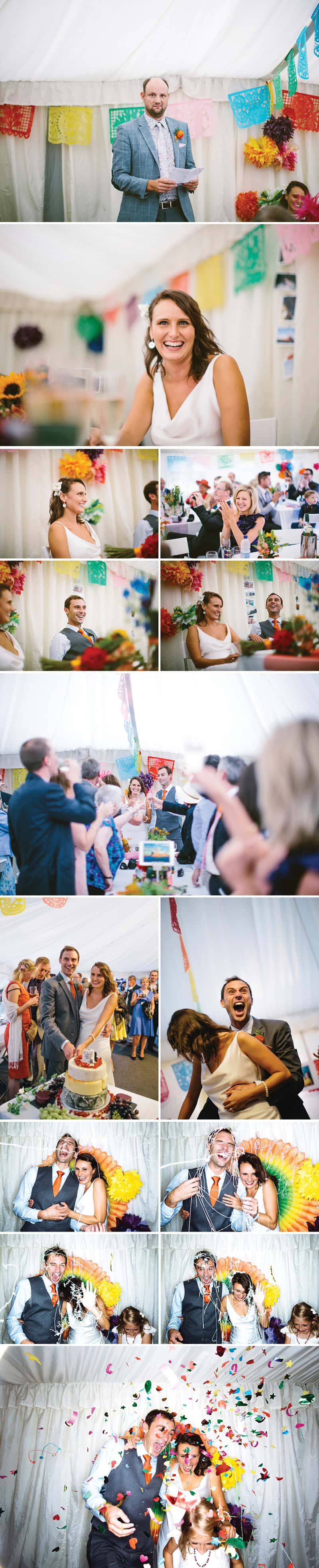 A multicoloured travel themed wedding