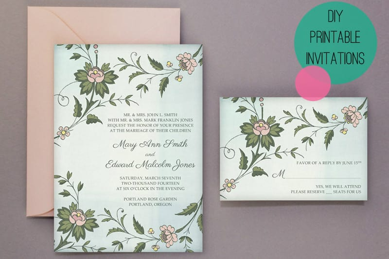 Free Printable wedding stationery