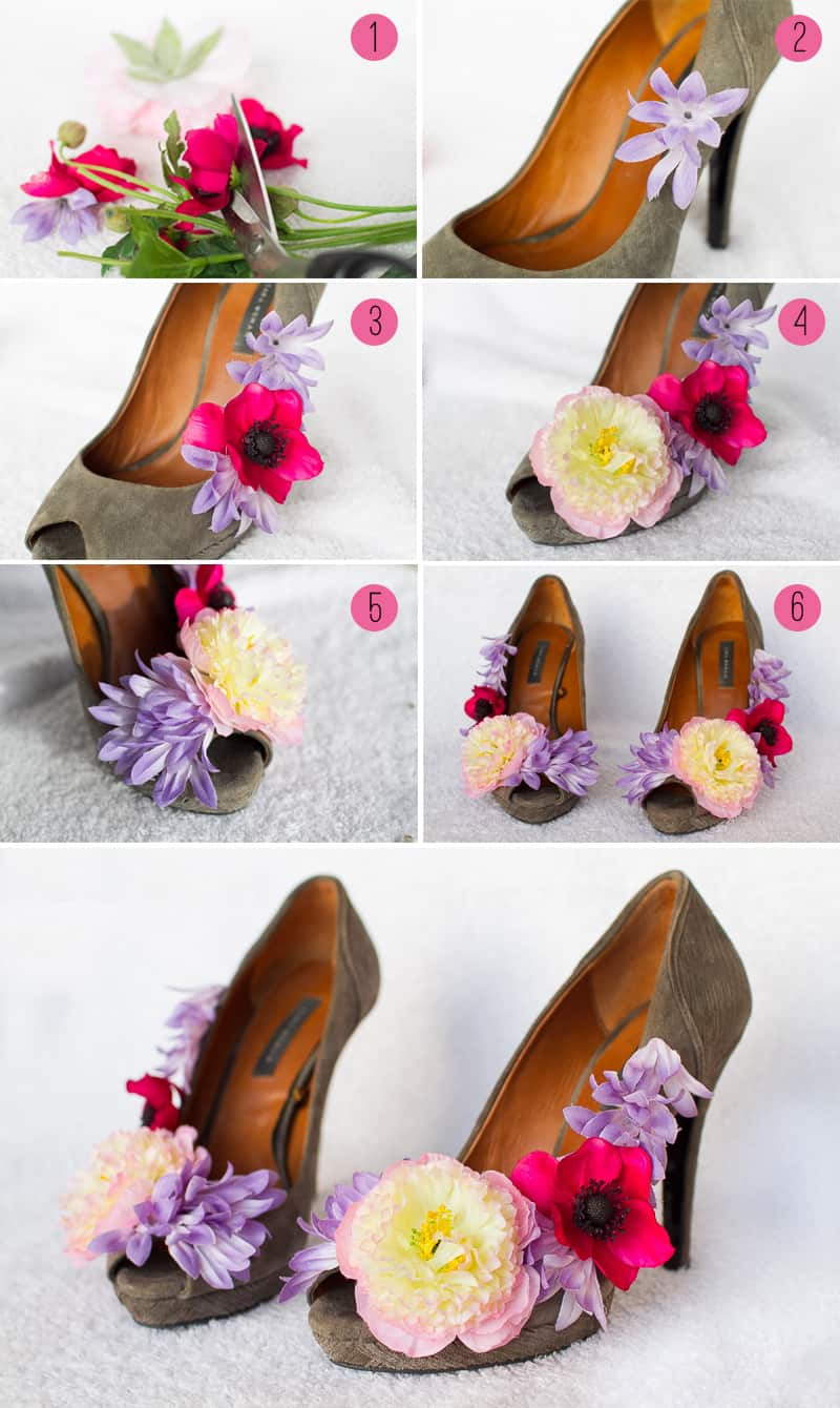 DIY Floral Wedding Shoes Flower Collage