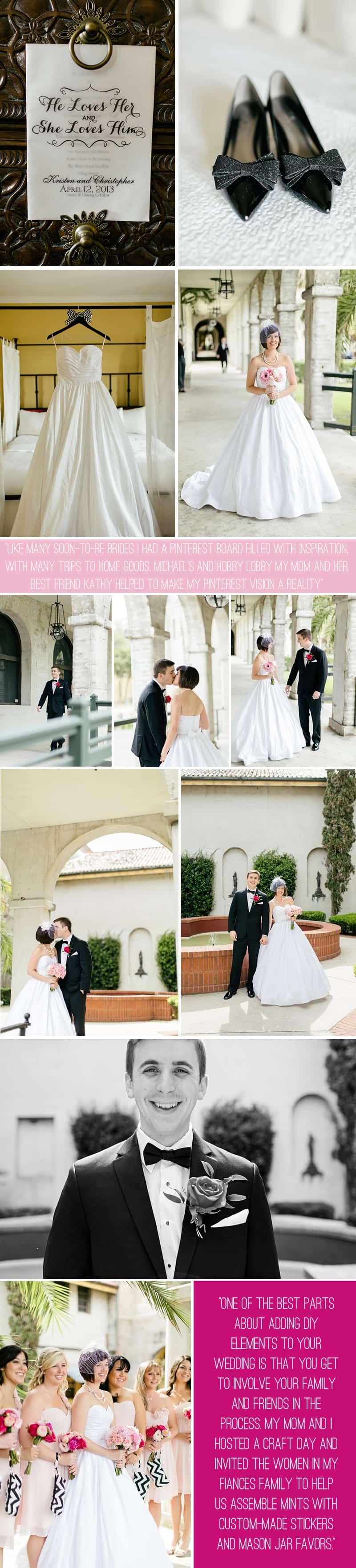 Black White Chevron Pink Wedding Florida Rooftop Wedding