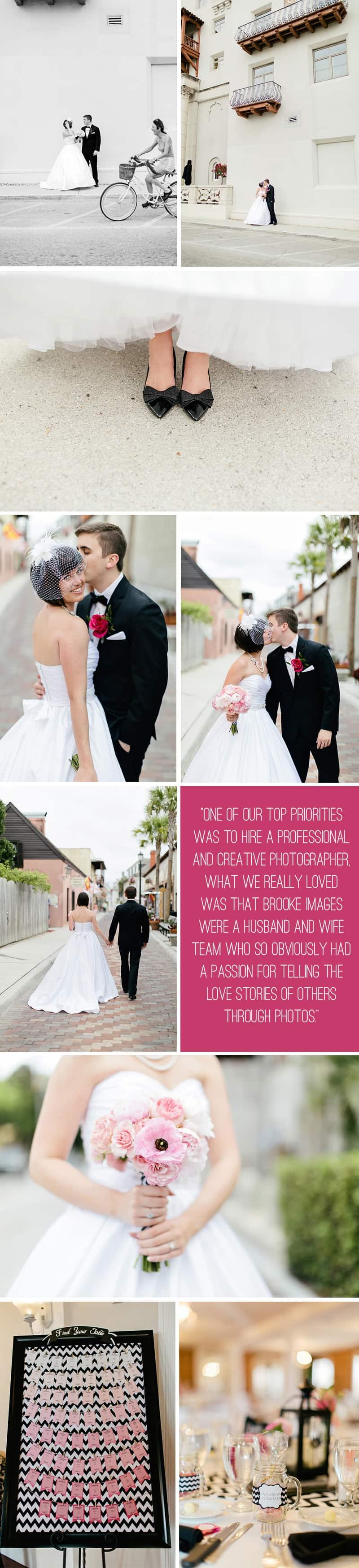 Black White Chevron Pink Wedding Florida Rooftop Wedding3
