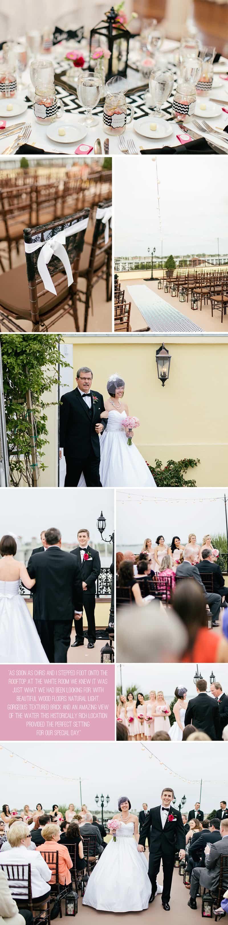 Black White Chevron Pink Wedding Florida Rooftop Wedding4