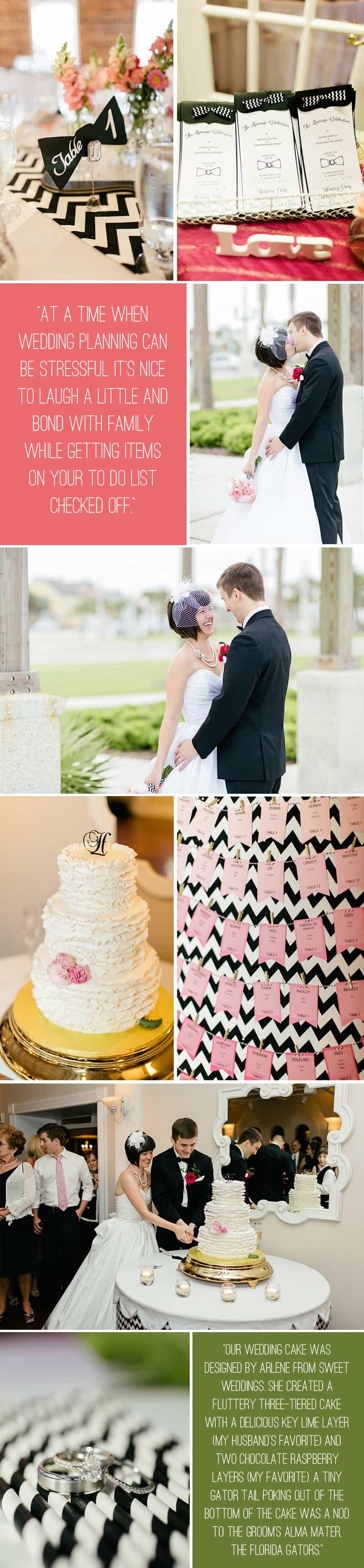 Black White Chevron Pink Wedding Florida Rooftop Wedding6
