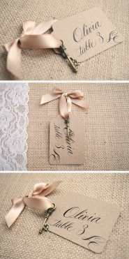 vintage calligraphy wedding name cards
