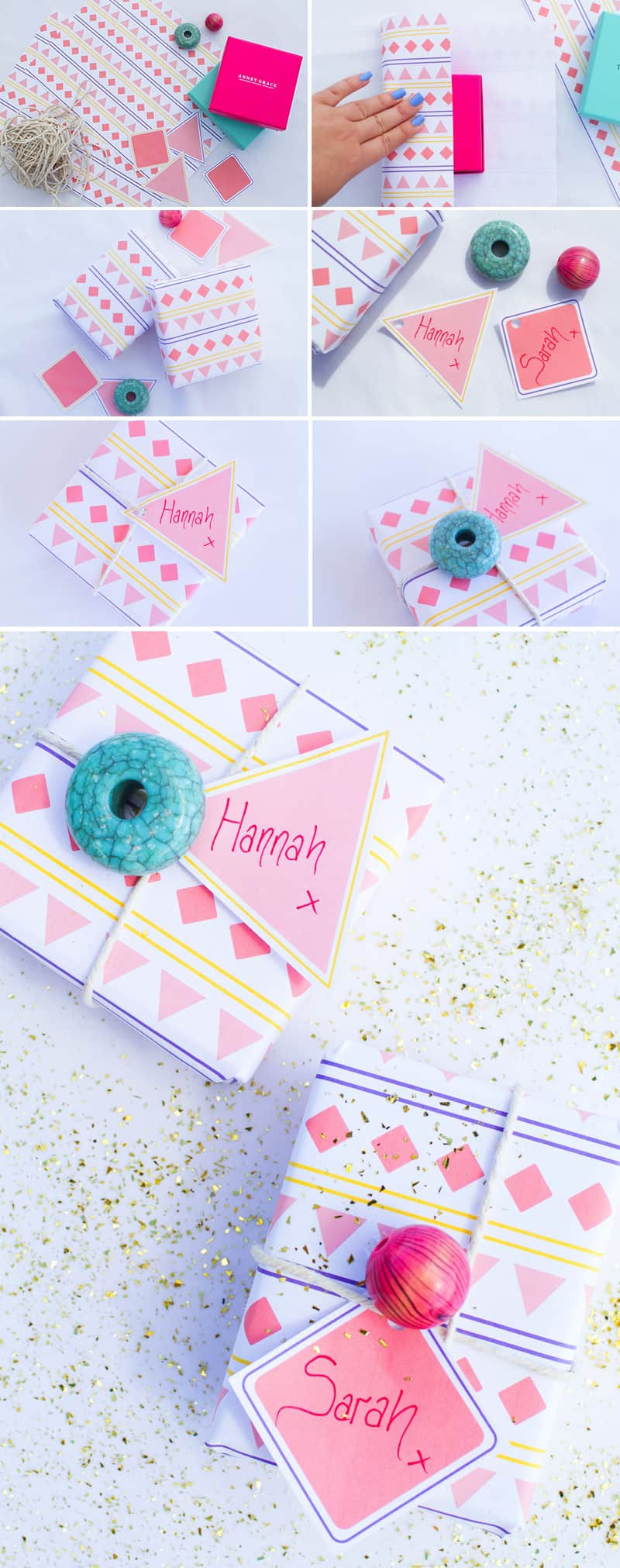 Aztec Wrapping Paper Tags Final DIY Wedding Blog