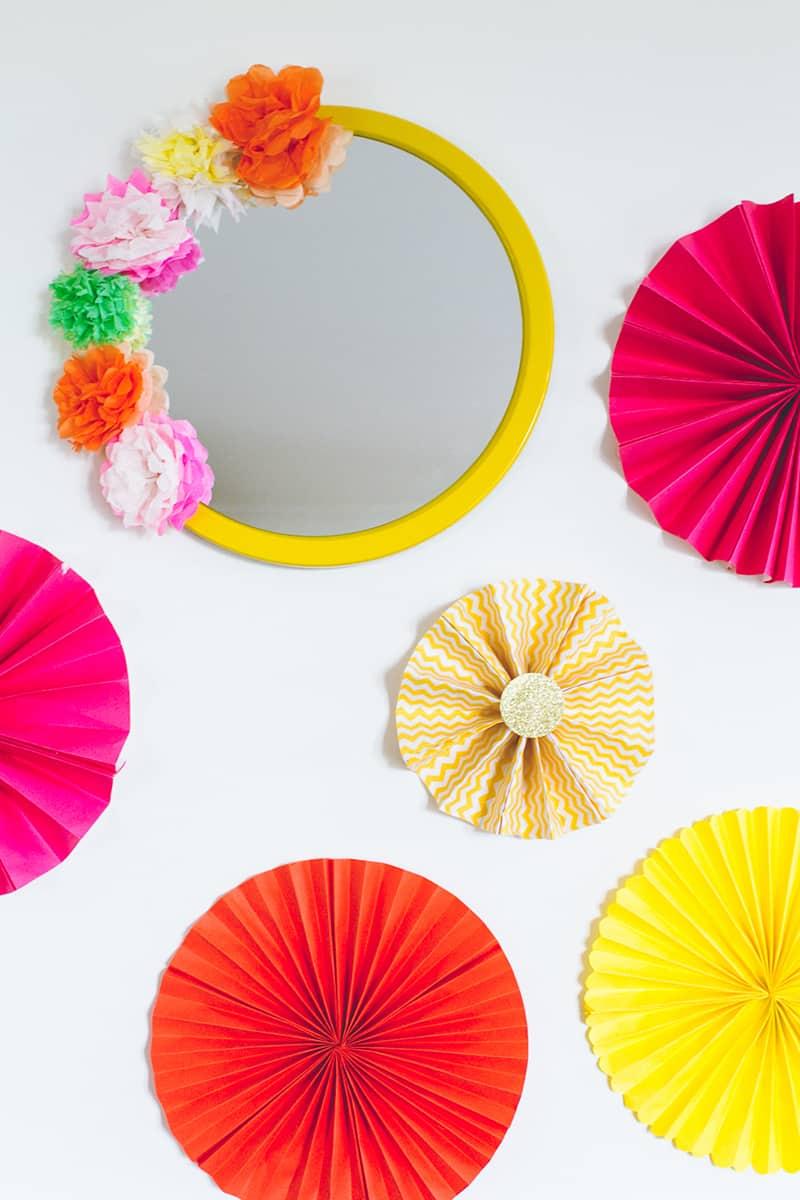 DIY Crepe Tissue Paper Flower Mexican Fiesta Mirror Wedding Decor Main
