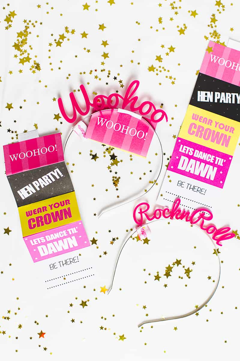 Free Printable Hen Party Invites Invitations Crown & Glory Head Band Fun Woohoo