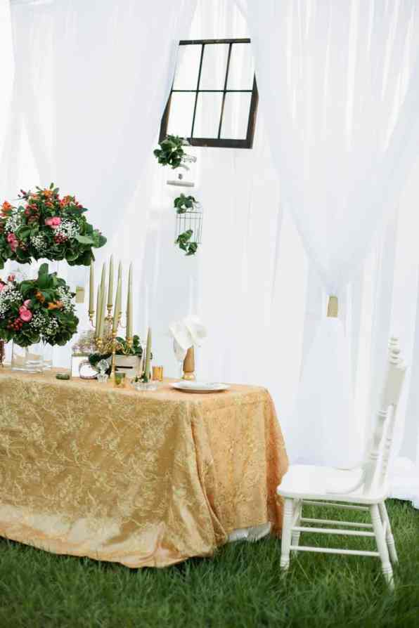 Charming Gold, Pink & Maroon wedding ideas with an unusual window backdrop