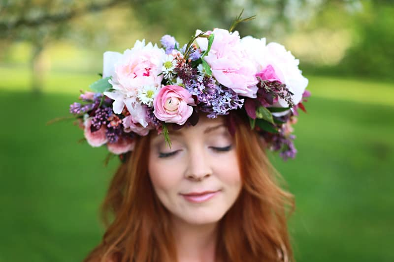 Spring Spring Wedding Inspiration Floral Crown Orchard Purple Lilac 21