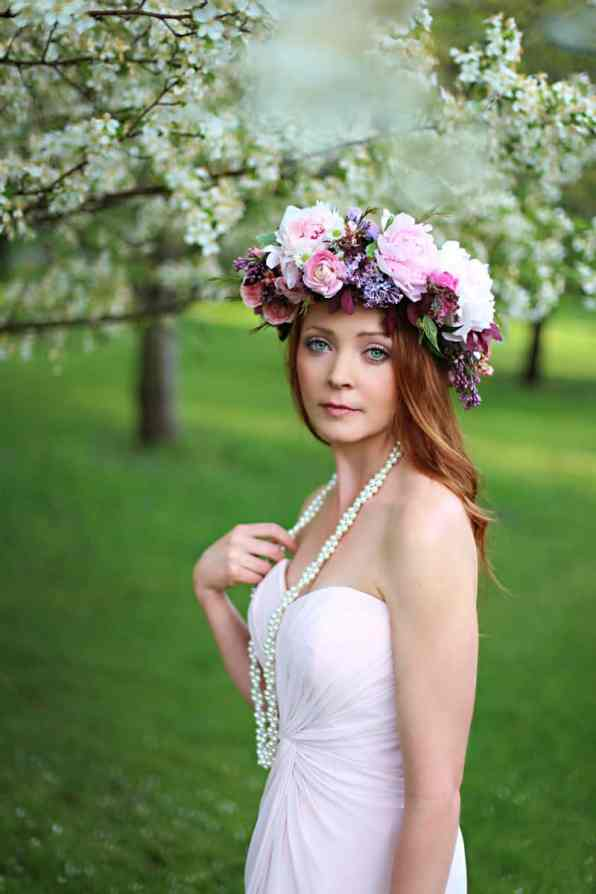 Spring Spring Wedding Inspiration Floral Crown Orchard Purple Lilac 29