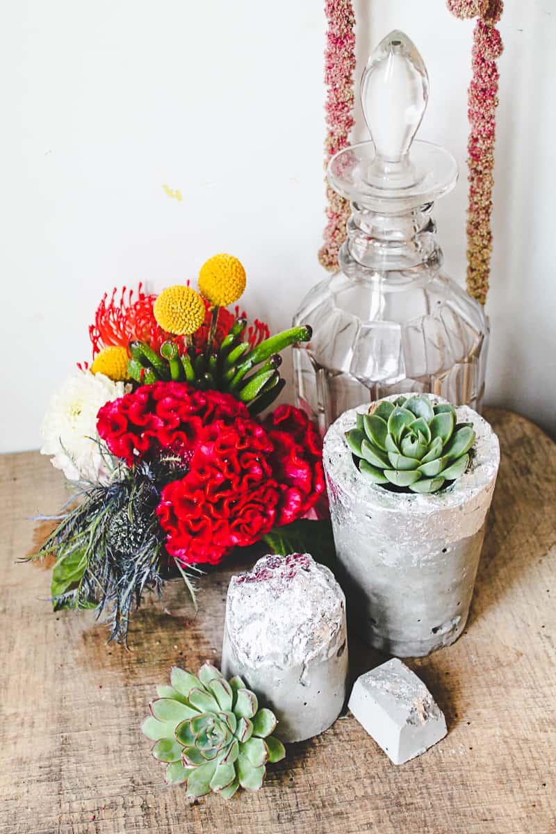 DIY Concrete Vase Silver Leaf Succulents