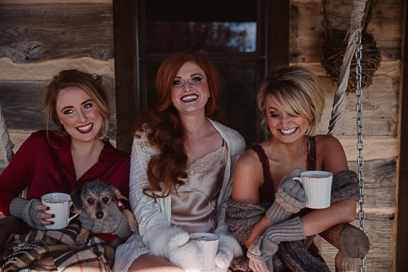 Christmas Bridal Brunch Log Cabin Hot Chocolate Festive Shoot 2-10