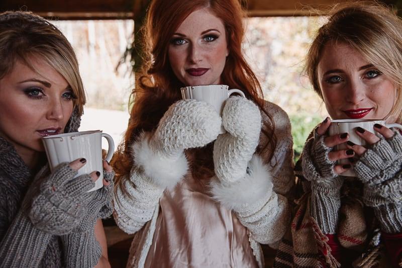 Christmas Bridal Brunch Log Cabin Hot Chocolate Festive Shoot 2-7