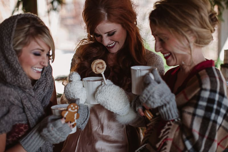 Christmas Bridal Brunch Log Cabin Hot Chocolate Festive Shoot 2-8