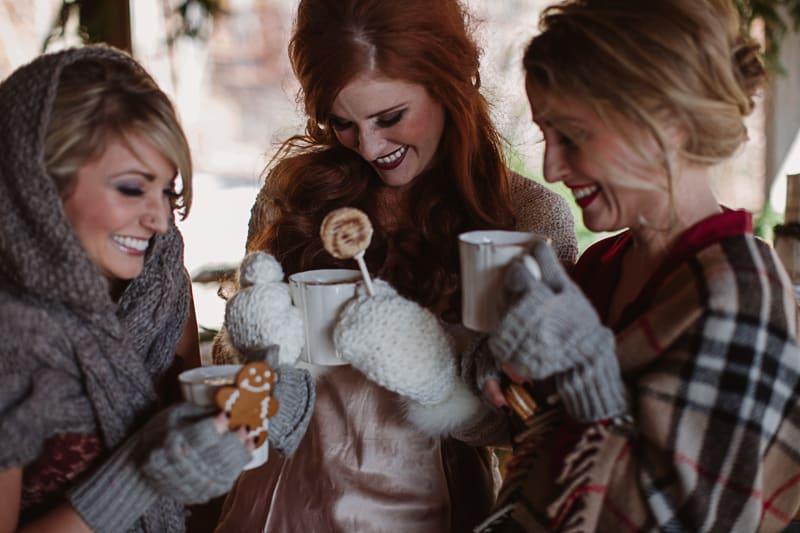 Christmas Bridal Brunch Log Cabin Hot Chocolate Festive Shoot 2-8