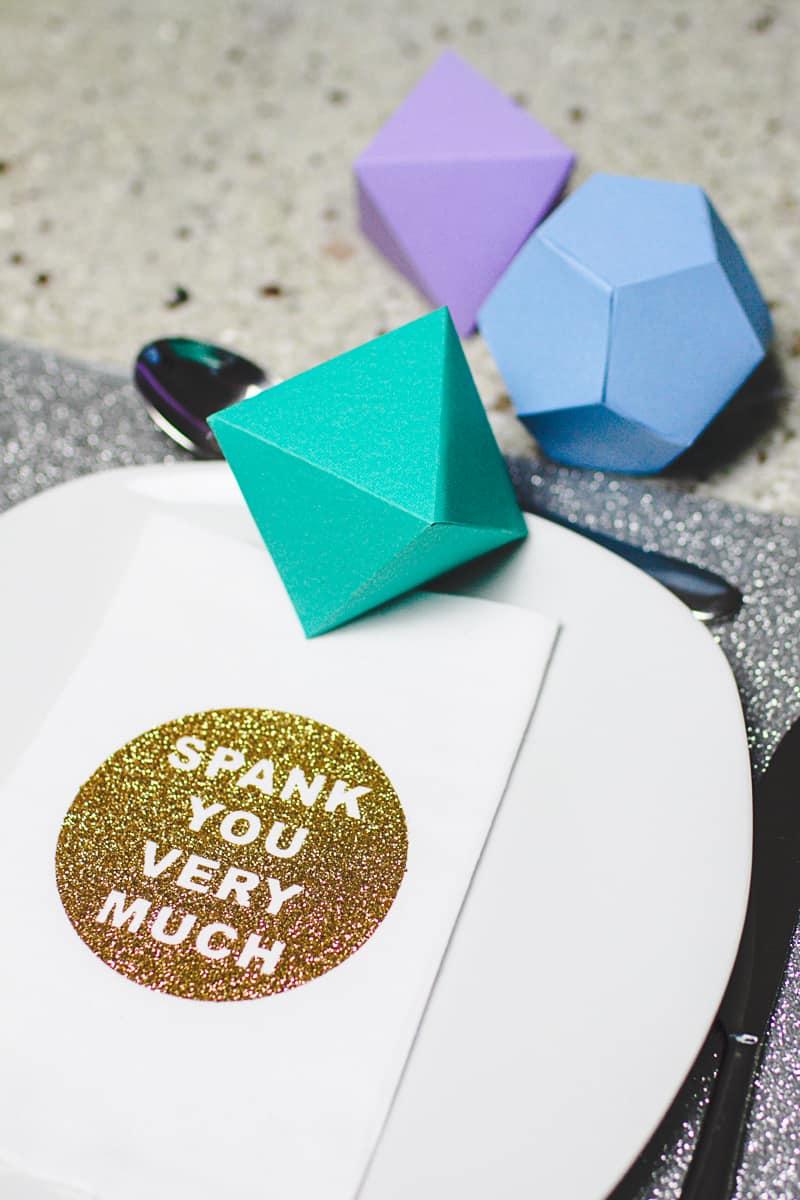 DIY Cricut Glitter Thank you Napkin Favours Place Setting-1