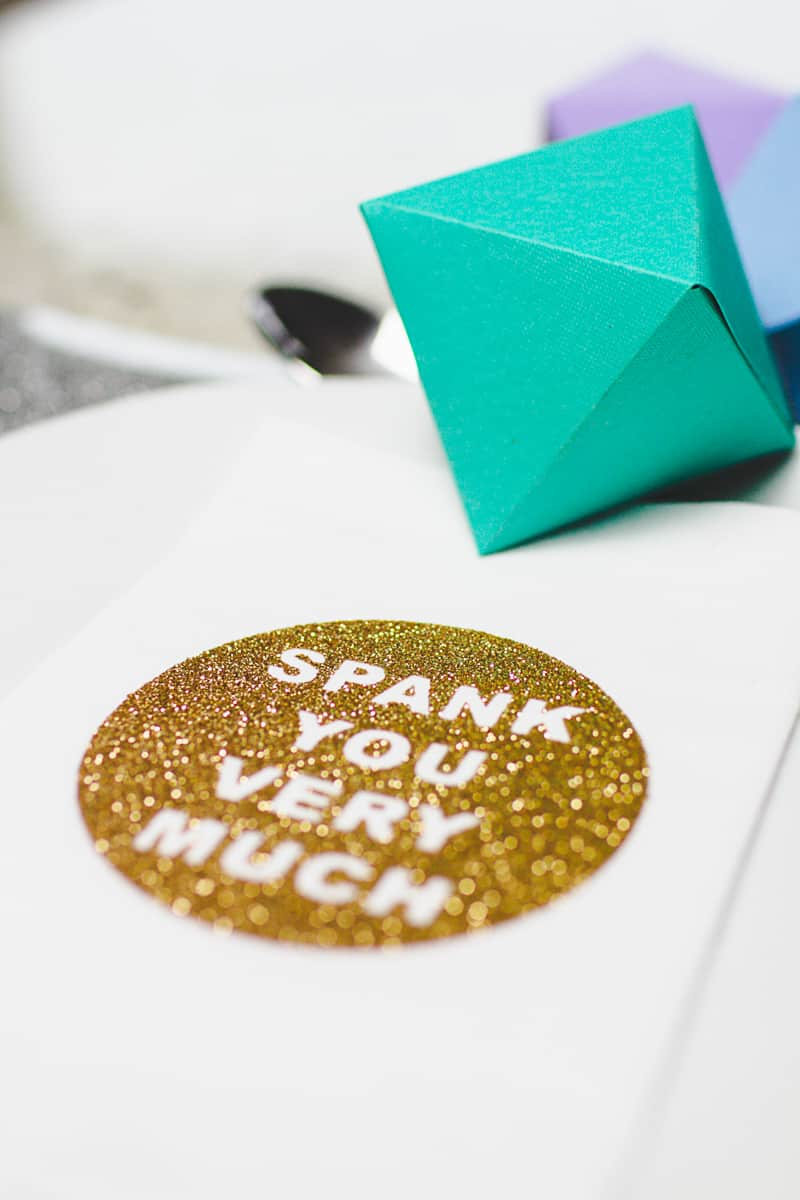 DIY Cricut Glitter Thank you Napkin Favours Place Setting-2