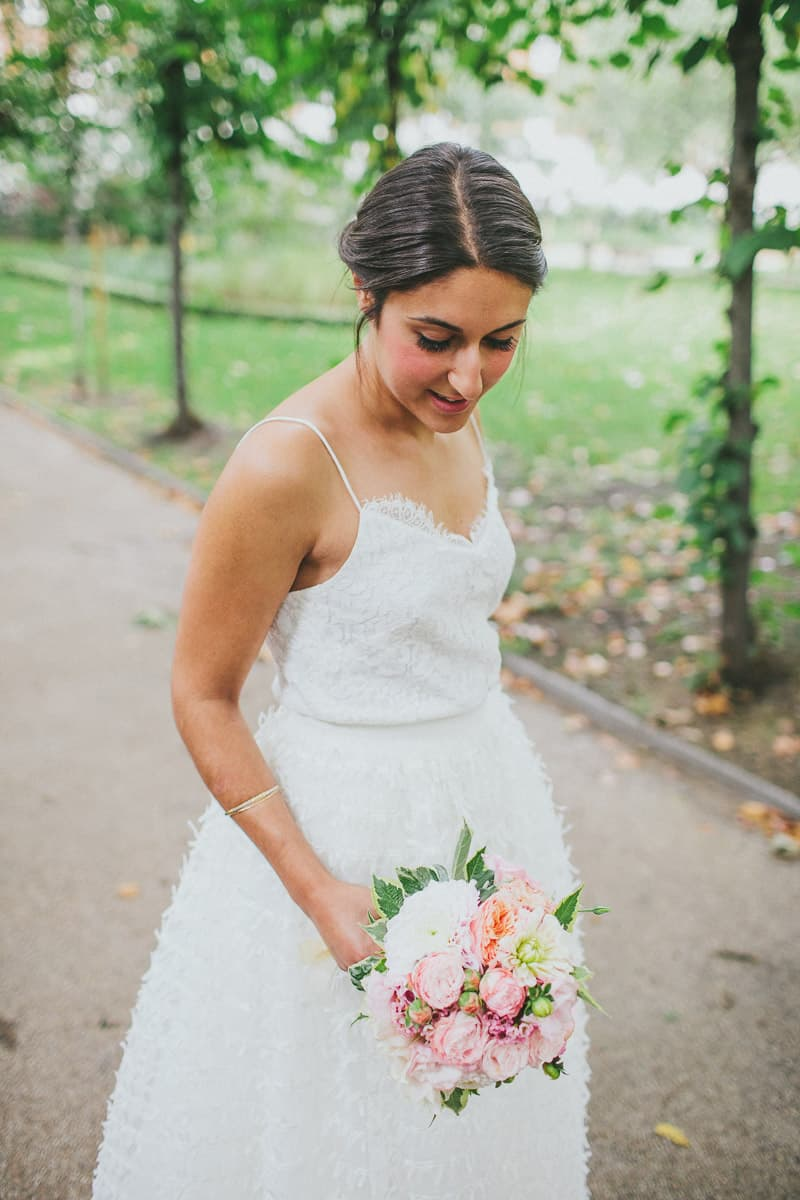 Glamorous two piece wedding gown for a relaxed rooftop wedding in Camden (3)