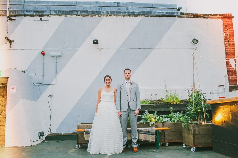 Glamorous two piece wedding gown for a relaxed rooftop wedding in Camden (32)