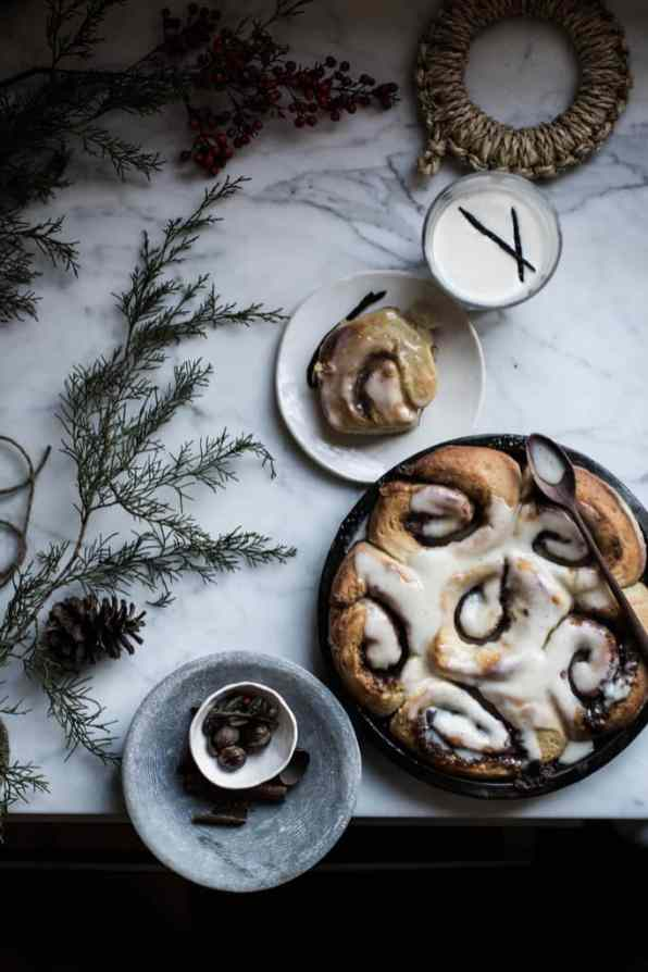 SOFT BROWN BUTTER & EGGNOG CINNAMON ROLLS + WHISKEY EGGNOG FROSTING