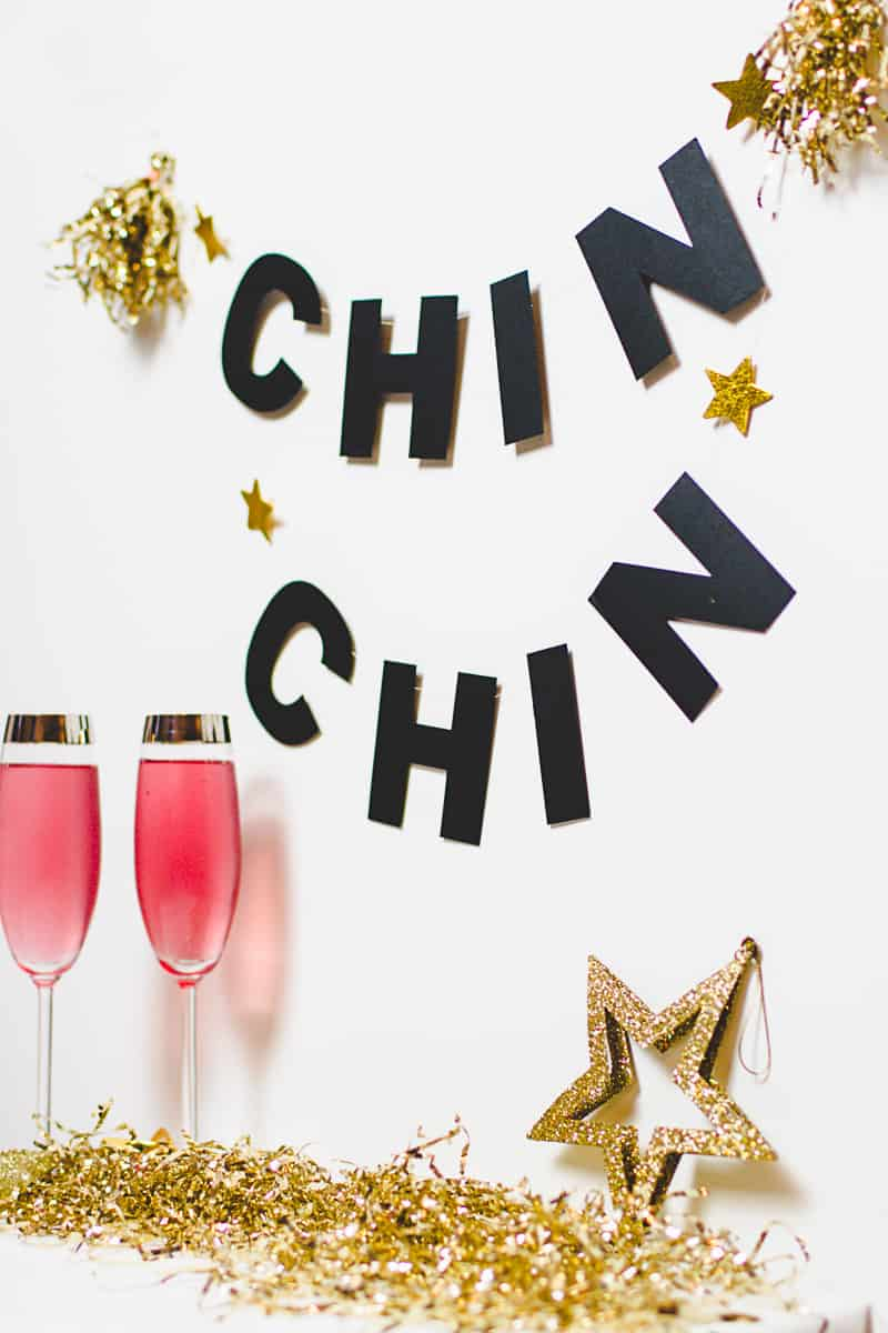 New Years Eve Chin Chin Banner Gold Black Glitzy Garland DIY-4