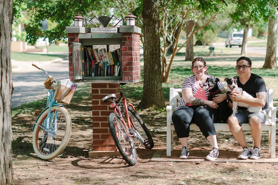 Quirky Engagement Shoot Librarian Fun Dogs Bike Ride 34