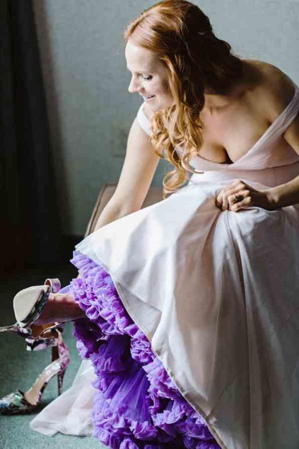 Close Knit Family & Friend DIY Wedding, Bride with Purple Petticoat (13)