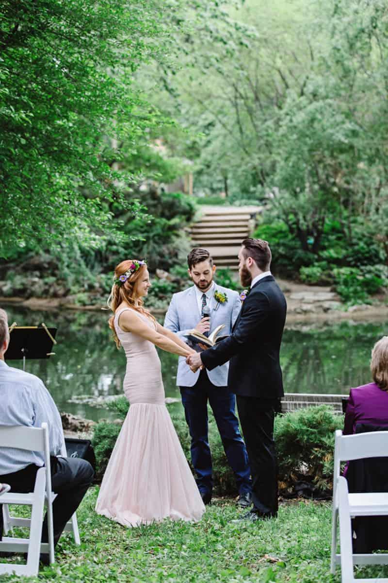 Close Knit Family & Friend DIY Wedding, Bride with Purple Petticoat (17)