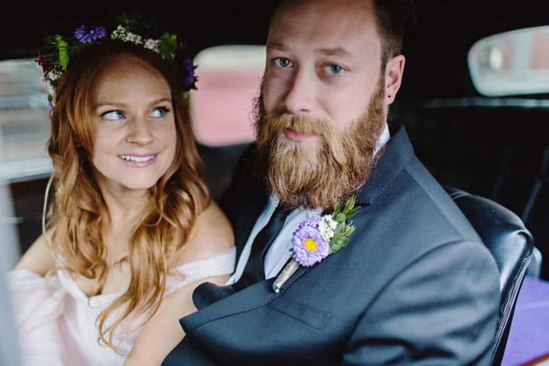 Close Knit Family & Friend DIY Wedding, Bride with Purple Petticoat (30)