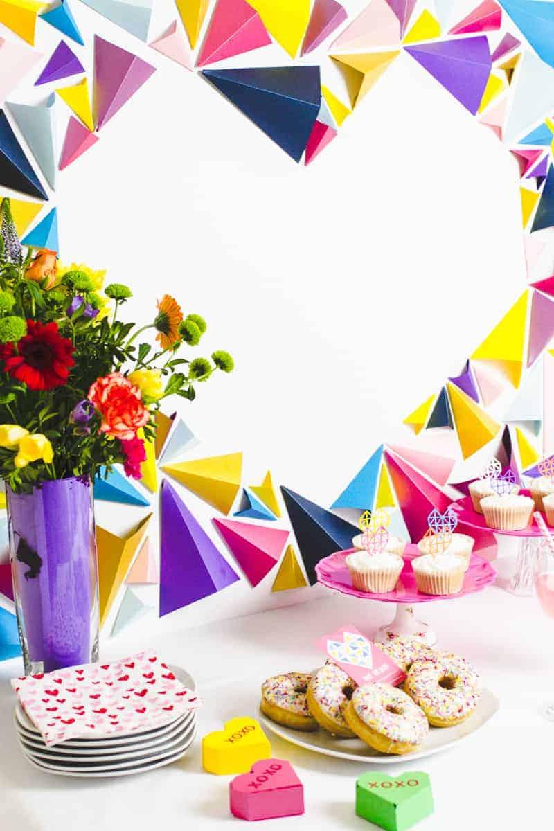 Heart Styled Dessert Table Geometric Modern Backdrop Altar DIY-Final 2
