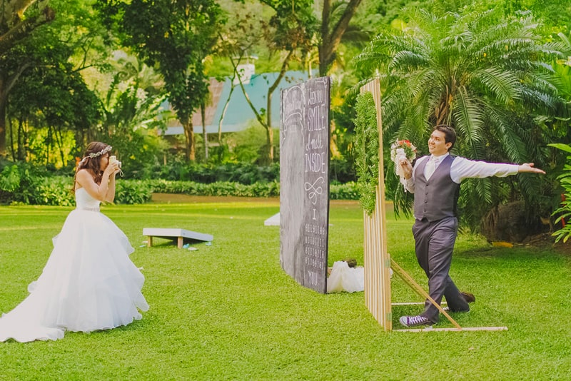 Chalkboard photo booth backdrop altar DIY hawaii wedding 2