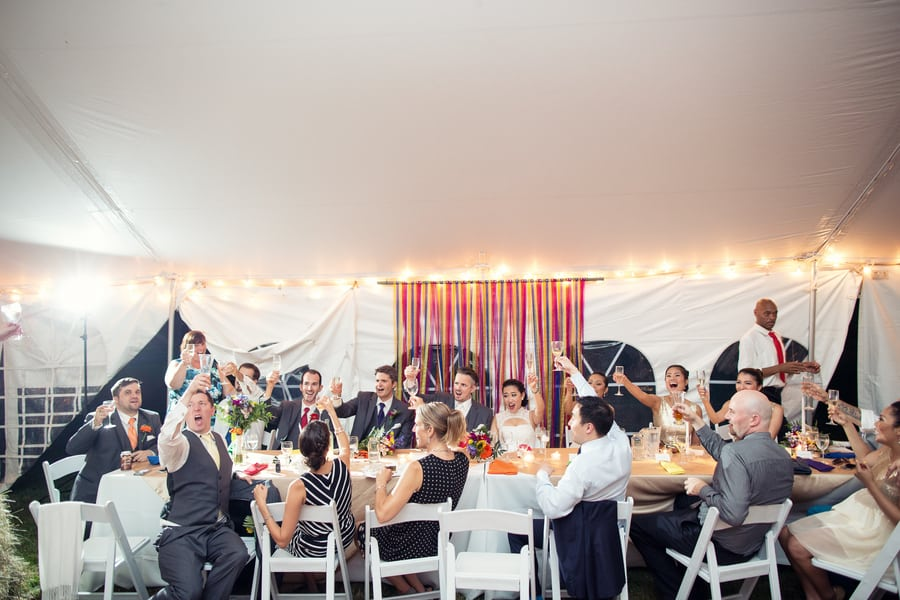 DIY Wedding with Coloruful Pompoms and rainbow backdrop 15