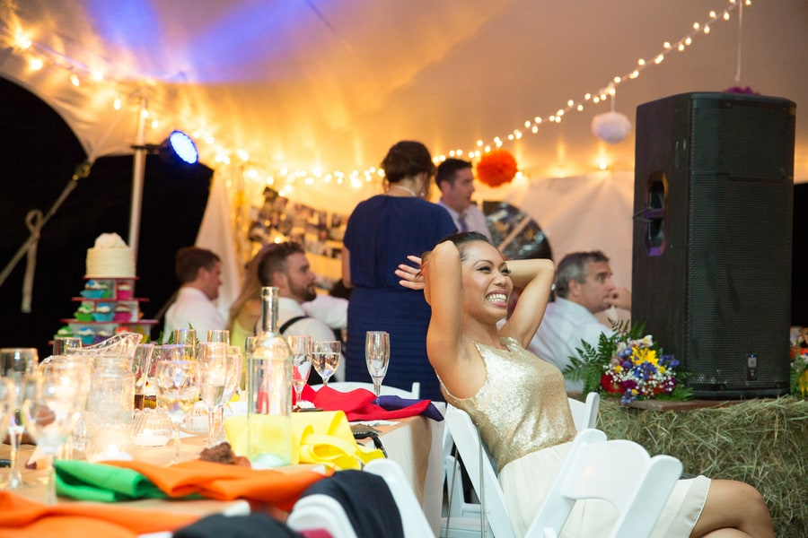 DIY Wedding with Coloruful Pompoms and rainbow backdrop 19