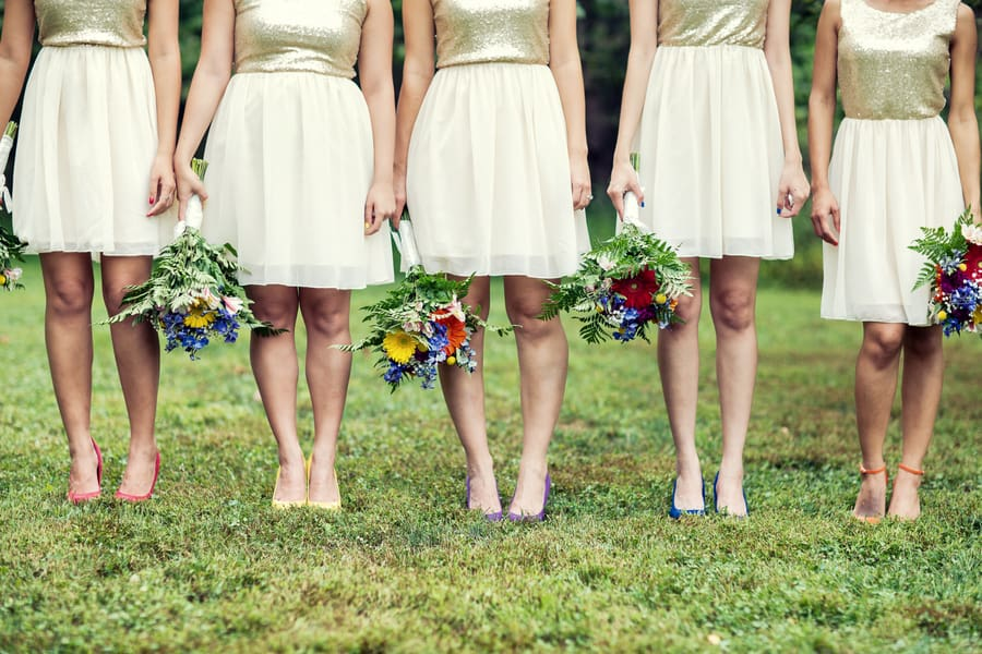 Gold Glitter Bridesmaids Dresses woth colourful rainbow shoes 1