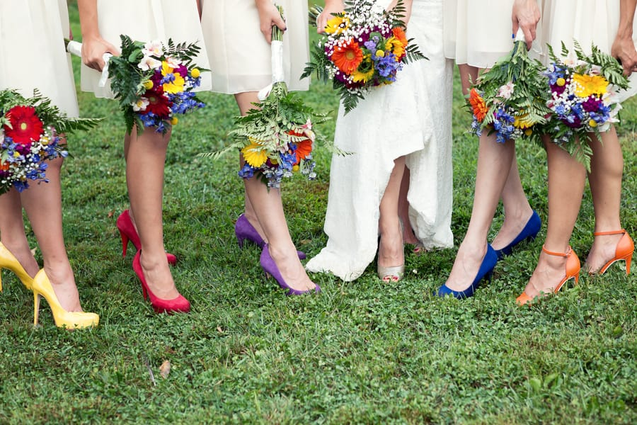 Gold Glitter Bridesmaids Dresses woth colourful rainbow shoes 4