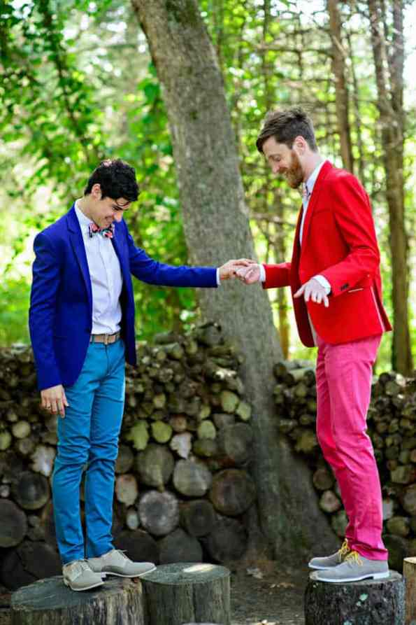 A SAME SEX COLOURFUL HANDMADE WEDDING AT A FOREST RETREAT IN Massachusetts (18)