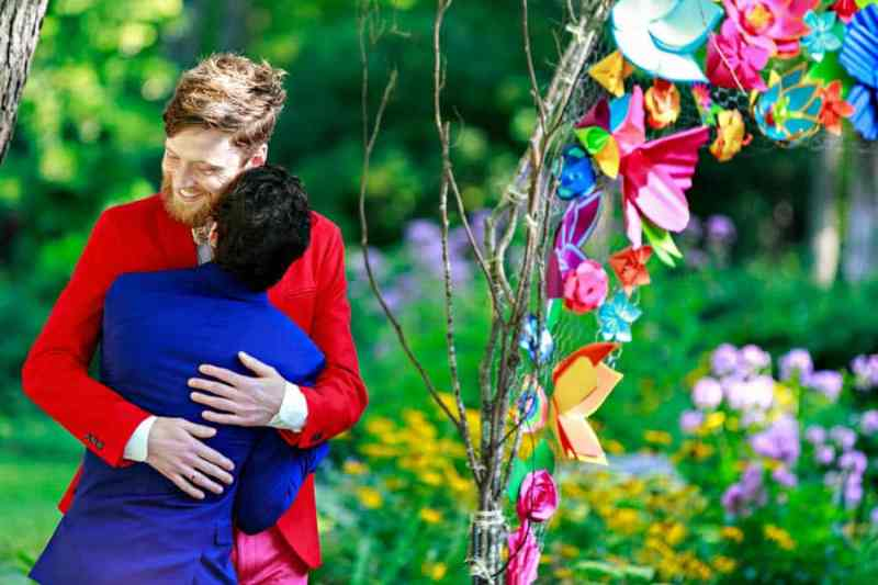 A SAME SEX COLOURFUL HANDMADE WEDDING AT A FOREST RETREAT IN Massachusetts (30)