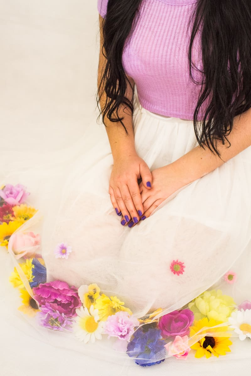 DIY Flower Tulle Skirt Tutorial Spring Summer Fashion Wedding do it yourself-10