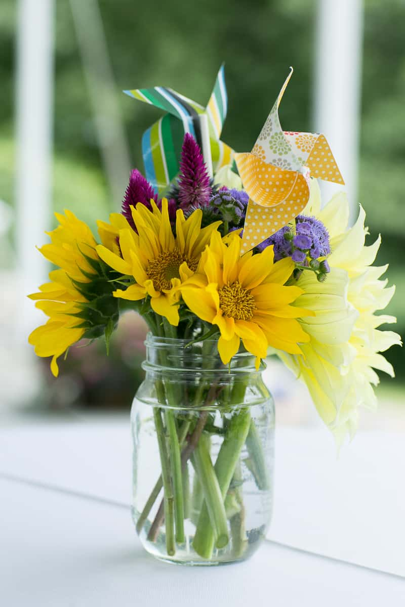 Pinwheel Themed Wedding with Colourful Sunflowers Backyard Inspiration-13