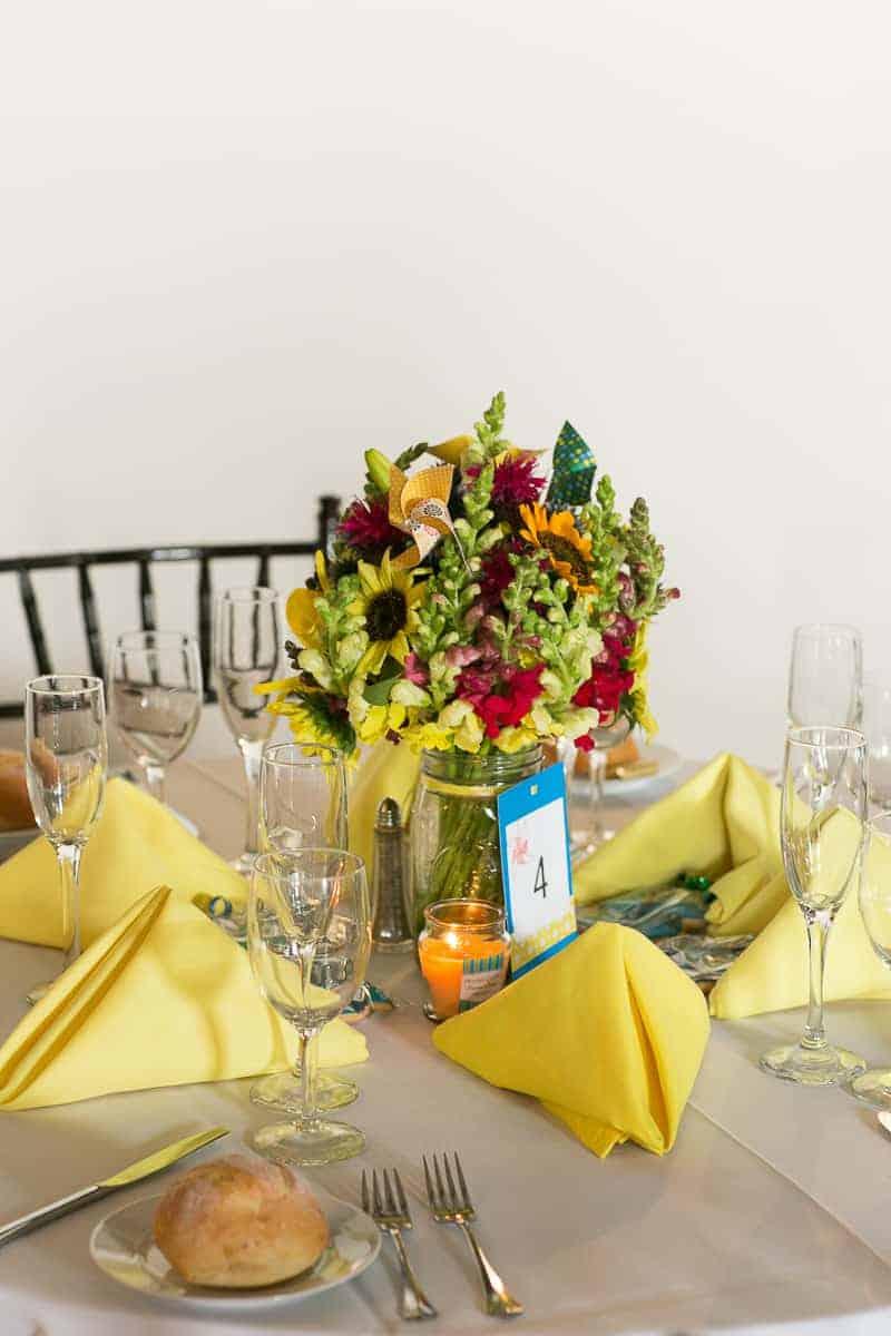 Pinwheel Themed Wedding with Colourful Sunflowers Backyard Inspiration-18