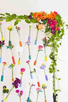 Test Tube Table Plan with Fresh Flowers