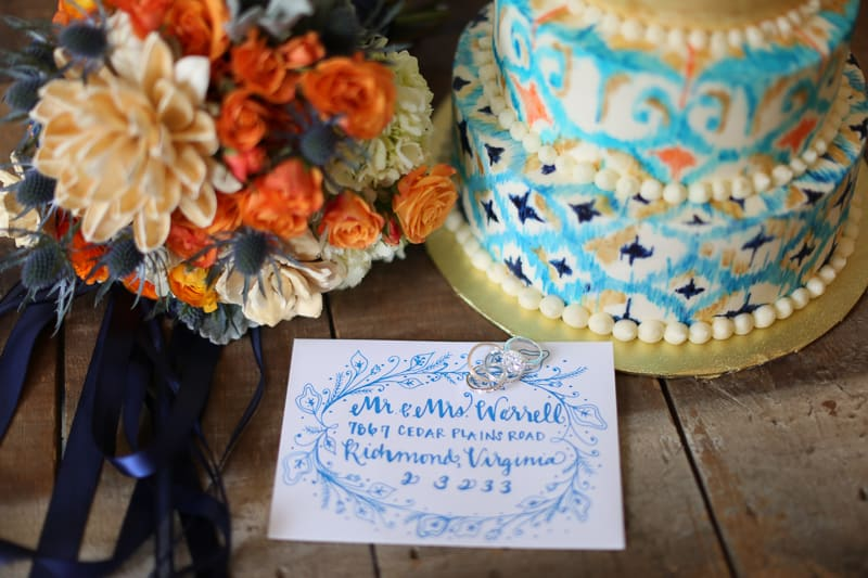 Whimsical Warehouse Wedding Inspiration with Bath tub bride orange navy colour scheme-8