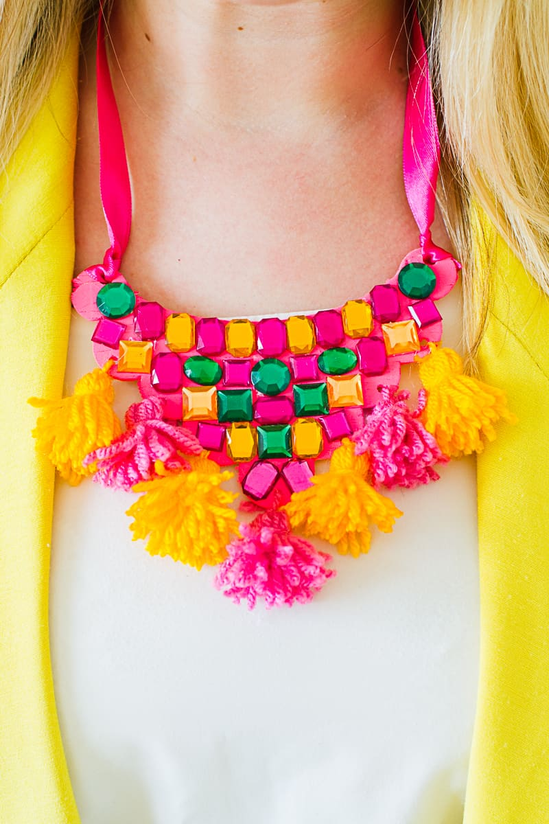 DIY Mexican Inspired Necklace Tassel Gem colorful ribbon fashion_-7