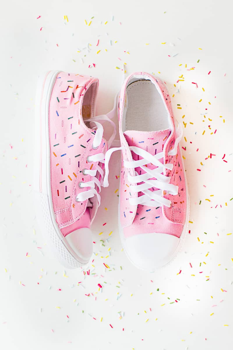 DIY Sprinkle Shoes Sneakers Pink Bridal pumps plimsole funfetti tutorial iron on-1