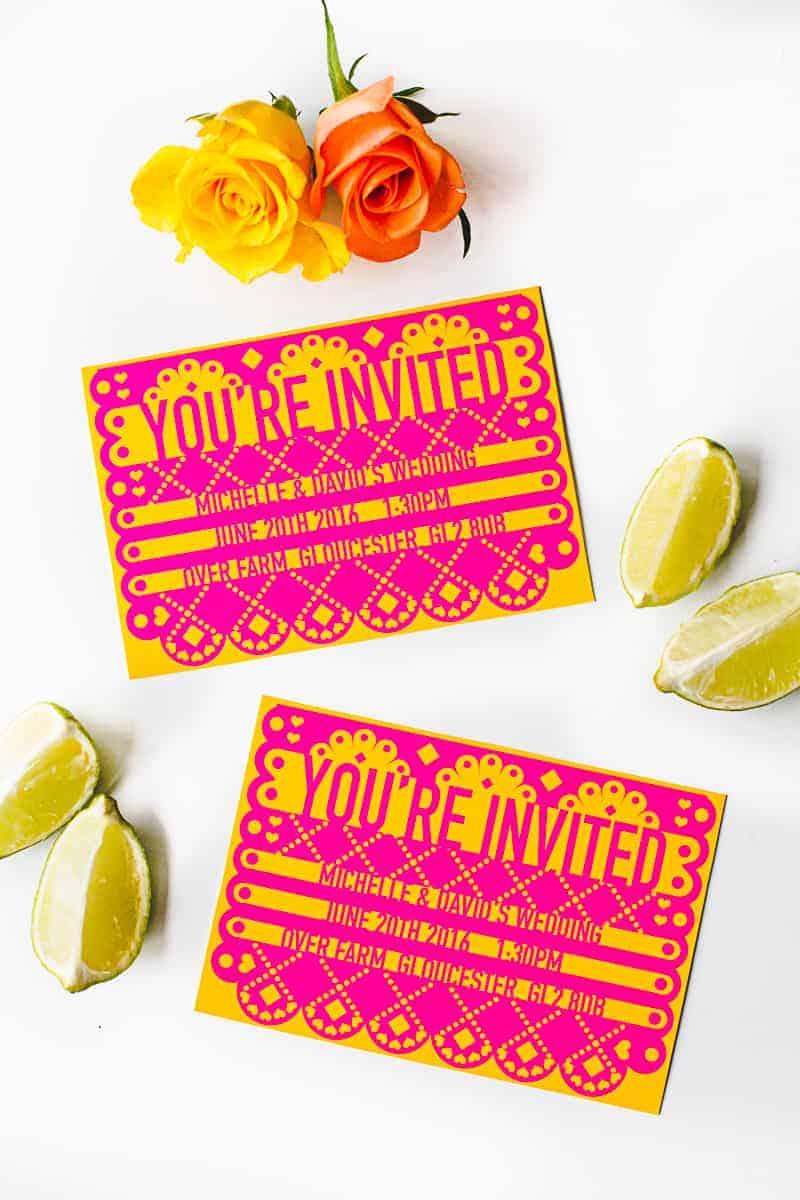 Free Printable Editable Papel Picado Wedding Invitation